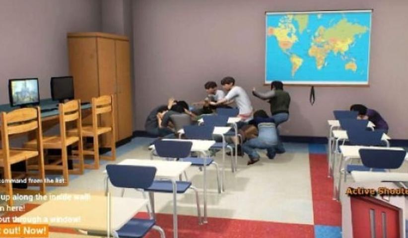 VR program. U.S. Army and the Homeland Security Department. EDGE. Bleak New Game Trains Teachers How to Survive School Shootings - ساخت بازی شبیه ساز تیراندازی توسط ارتش آمریکا و وزارت امنیت داخلی آمریکا