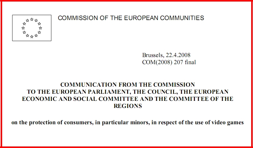 protection of consumers in particular minors in respect of the use of video games - سند اتحادیه اروپا در حفاظت از مصرف کنندگان، به ویژه کودکان، در رابطه با استفاده از بازی های ویدئویی