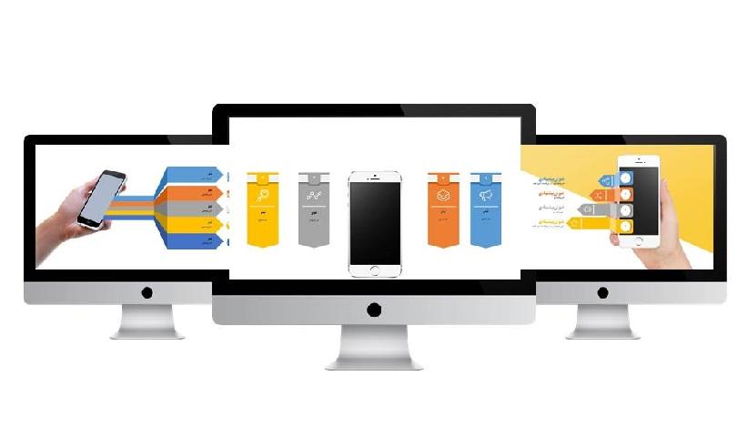 POWERPOINT.MOBILE APP. infografic.1.widescreen.S - دانلود قالب پاورپوینت موبایل اینفوگرافیک  1